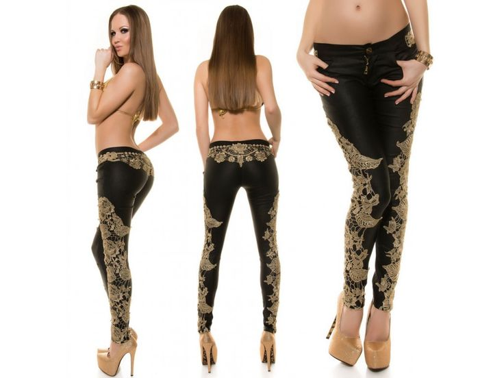 Black skinny with gold lace, ♥ fashion for spring ♥ love fashion ♥ fashionistas paradise ♥ bestmoda.cz in stock ♥ we ship worldwide
