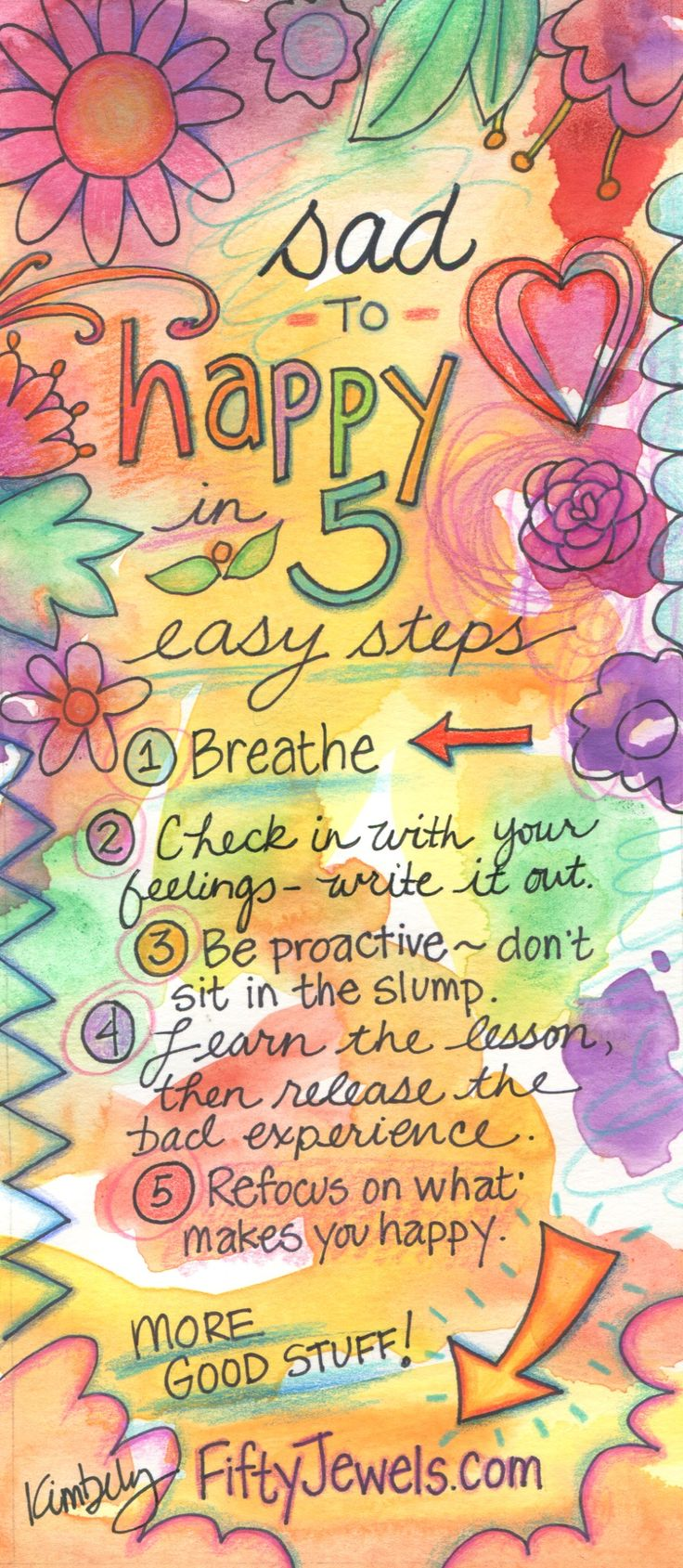 Use these quick tips to boost your mood and get back to your sunny, happy self! Pin for later & click to learn more great action steps!  http://FiftyJewels.com #gratitude #happiness #grateful