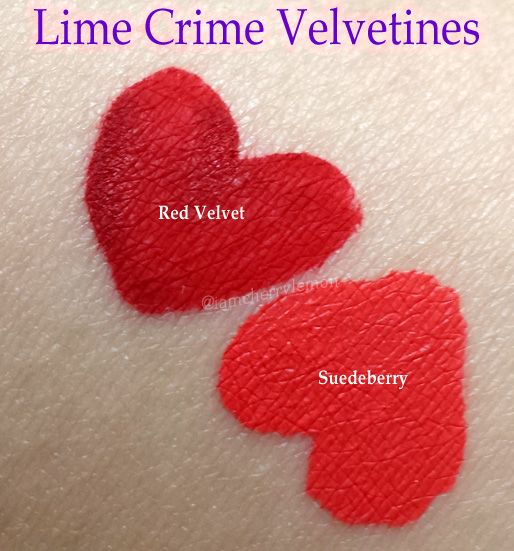 Lime Crime Velvetines in Red Velvet and Suedeberry, review and photo swatches