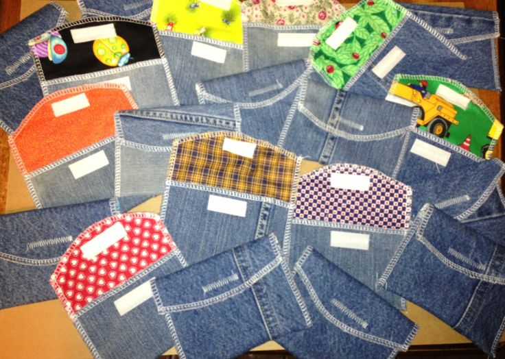 Ticket pouches made from recycled jeans