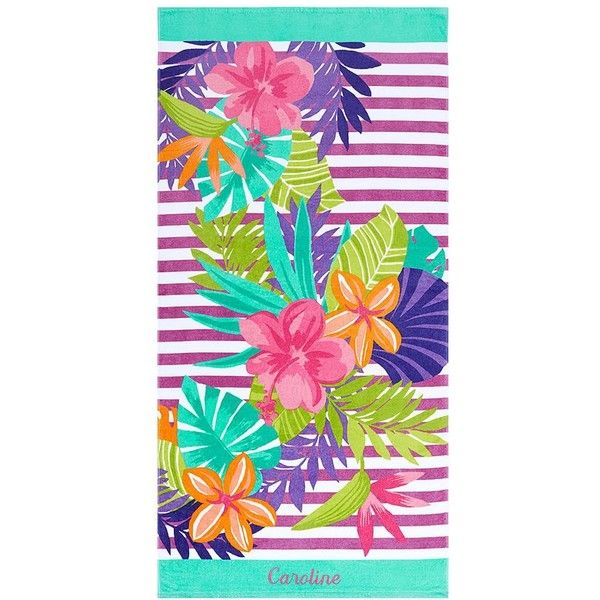 PB Teen Petals Of Paradise Beach Towel ($26) ❤ liked on Polyvore featuring home, bed & bath, bath, beach towels, cabana stripe beach towels, personalized beach towels, tropical beach towels and pbteen