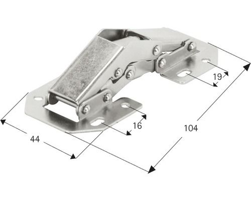 Aufschraubscharnier mit Feder, Stahl vernickelt, 1 Stück
