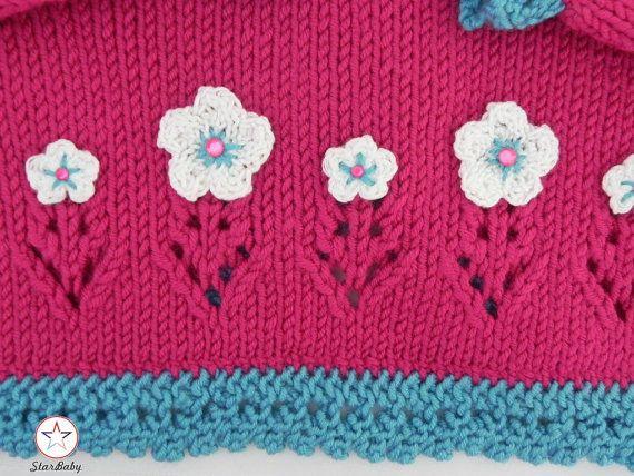 Baby Bolero Knitted Cardigan Pink Sweater by StarBabyKnitwear