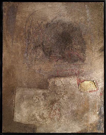 Antoni Tàpies - Figura paisaje en gris, 1956, oil and sand on canvas