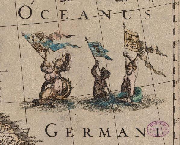 """На этом фрагменте карты Йодокуса Хондиуса """"Magnae Britanniae et Hiberniae Tabula"""" 1617 года в руках у русалок - королевский флаг Генри IV, штандарт Королевства Ирландии и королевское знамя Шотландии.  #Британия #Соединенное_Королевство #Великобритания #Ирландия #Шотландия #Англия #Северное_море #17век #старыекарты #стараякарта #карта_англии #старинныекарты #картография #история #карта #карты"""