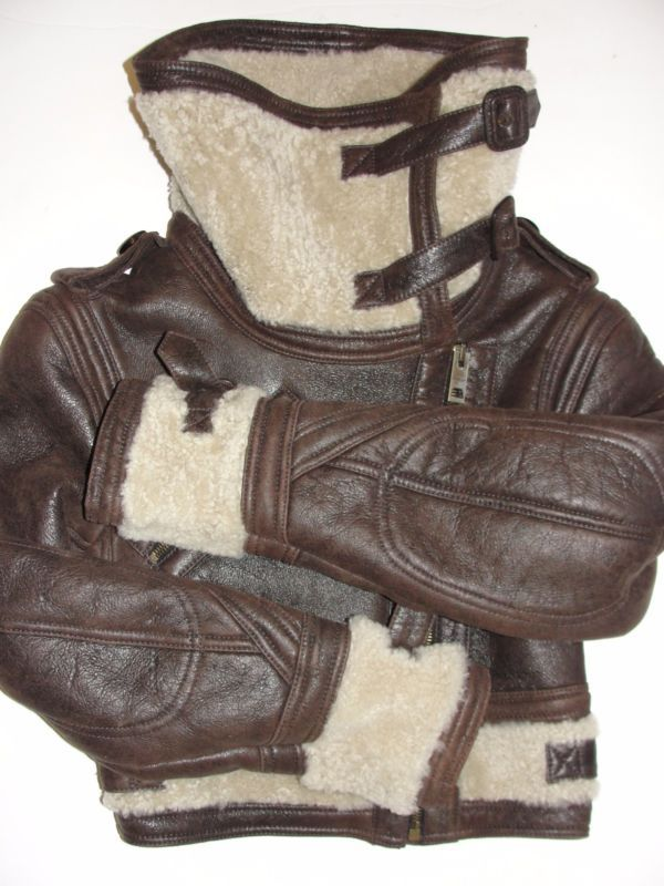 BURBERRY PRORSUM Cropped Shearling Fur Brown Leather Aviator Bomber Jacket US 2