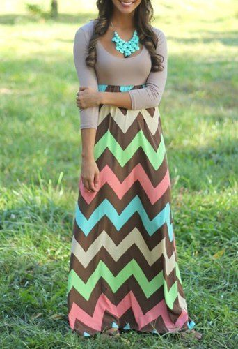 Bohemian Scoop Collar 3/4 Sleeve Zig Zag Maxi Dress For Women