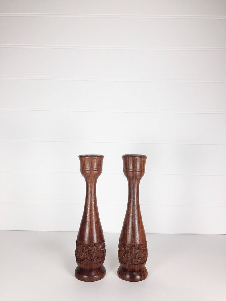 Vintage hand carved wood candlestick holders | set of 2 by LeroyBrownFurnishing on Etsy