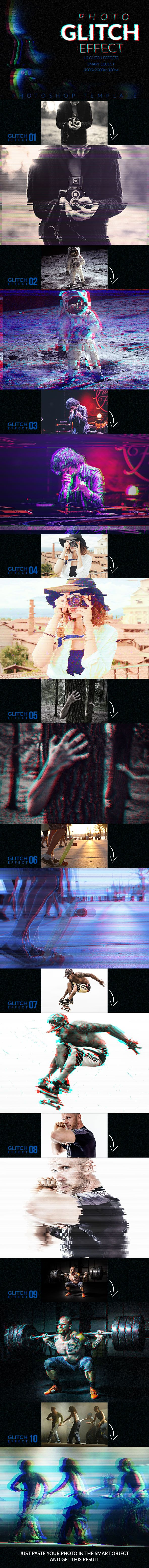 "Glitch Effect Creator The set ""Glitch Effect Creator"" includes 1PSD file with 10 Groups Glitch Effects, 3000×2000px , 300dpi, RGB, 100% layered. Put your photo inside the Smart Object and Glitch Effect Creator operation is performed."