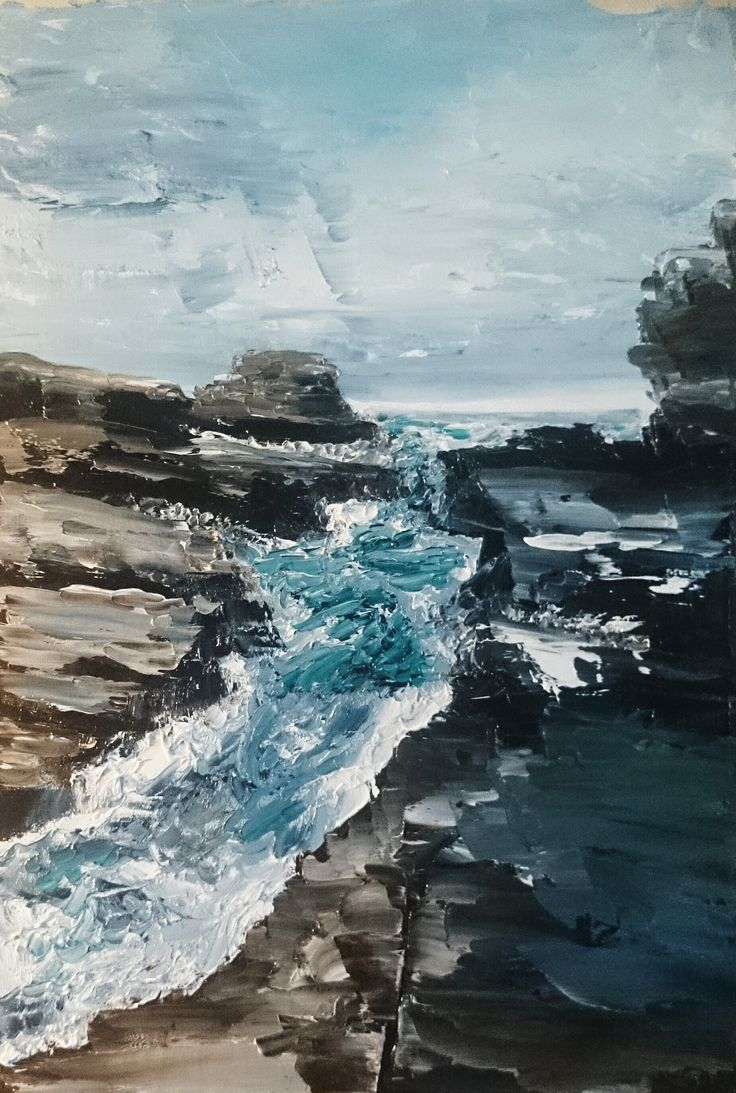 Leaping the Gap - Eaglehawk Neck, Tasmania.  Oil painting on canvas, palette knife, 2015