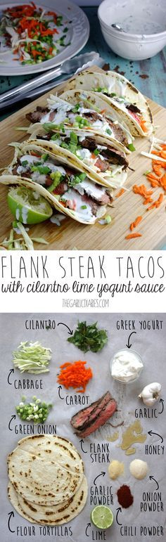 Flank Steak Tacos with Cilantro Lime Yogurt Sauce -- TheGarlicDiaries.com