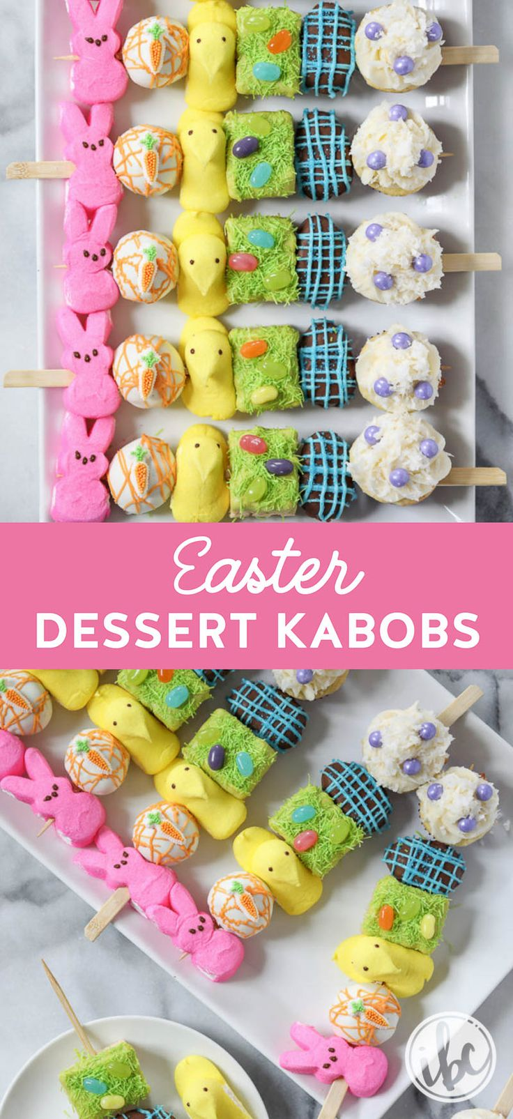 Easter Dessert Kabobs - all your favorite Easter desserts at once! #easter #dessert #recipe #spring #peeps