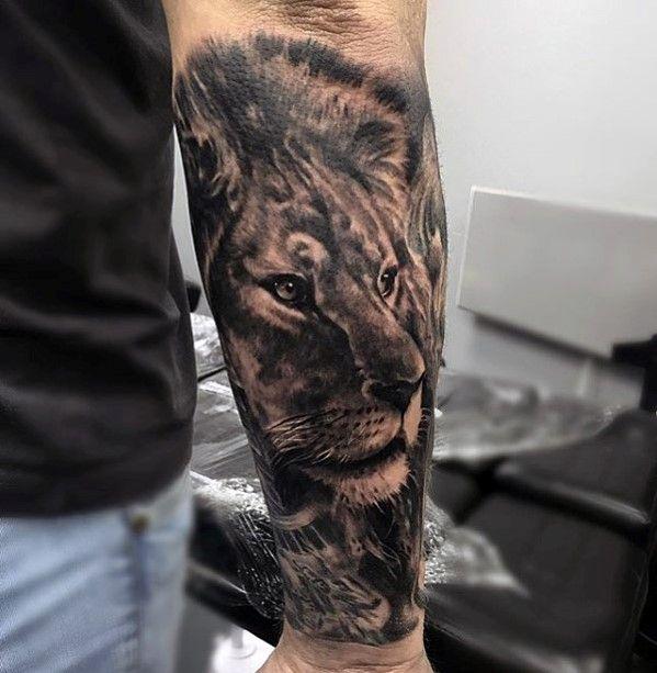 Forearm Sleeve Male Lion Tattoos