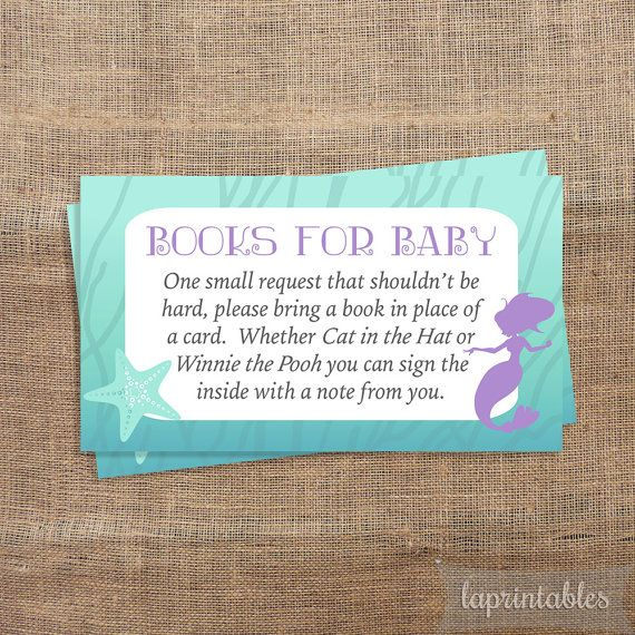 Books For Baby Mermaid Baby Shower Invite Insert by laprintables