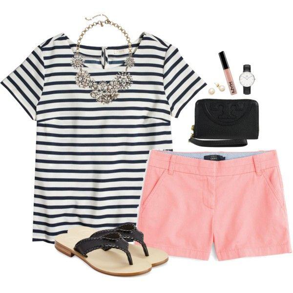 J.crew striped tee & chino shorts