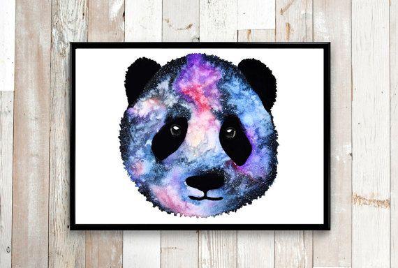 Abstract watercolor painting, Panda Painting, Abstract painting, Galaxy painting, Abstract wall art, Panda art print, Abstract animal art