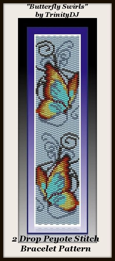 """New Pattern for next week: """"Butterfly Swirls"""" - 2 drop Peyote Stitch Bracelet Pattern - if you need a design that will stitch up fast, this one is for you"""