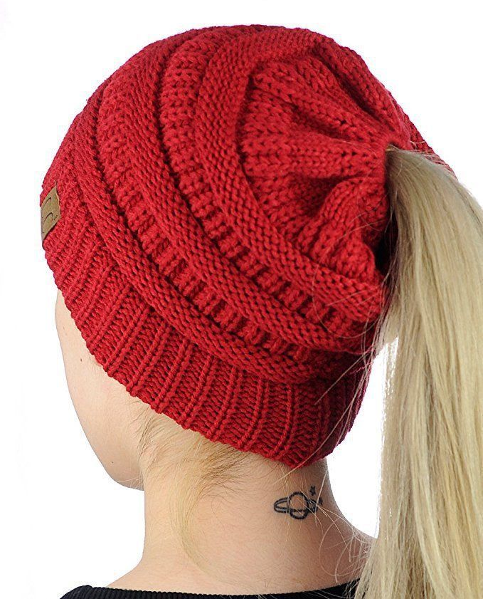 da6acd67ed492  6.1 - Cool 2017 Hot Women s Girl Stretch Knit Hat Messy Bun Ponytail Beanie  Holey Warm Hats Winter 8 Colors - Buy it Now!