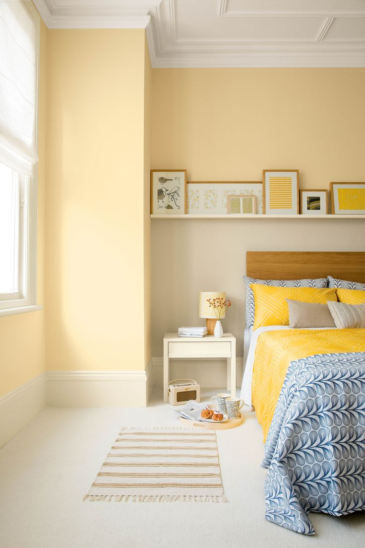 Yellow bedroom painted with Crown matt emulsion in Gentle Yellow - Lucy?
