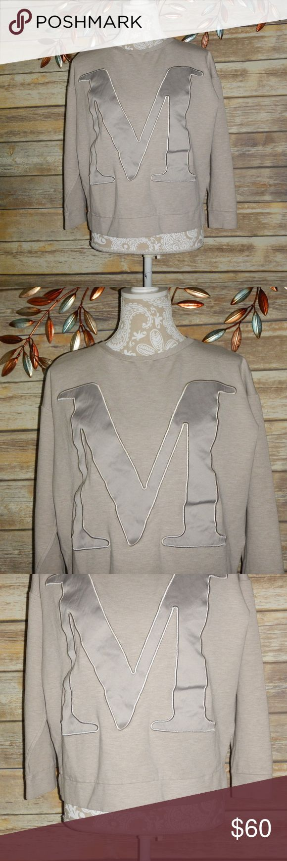 "Max Mara Logo Sweatshirt Max Mara Womens Beige Logo Sweatshirt Long Sleeve Size Large Please note size tag is missing based on measurements estimated size Large. Chest: 23"" flat  Length: 21"" MaxMara Tops Sweatshirts & Hoodies"