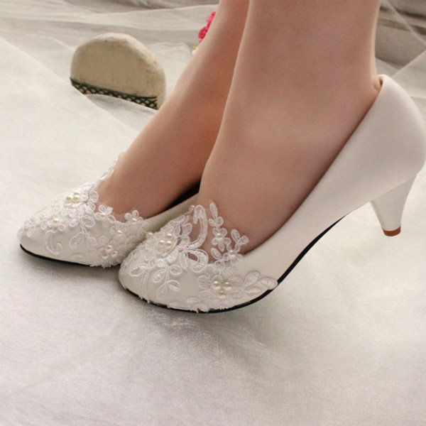 Ladies Lvoely Pearl Flower Wedding Lace Platfrom Bridal Bridesmaid Flat High Low - US$29.86