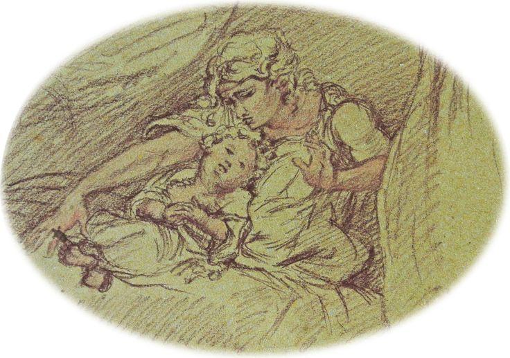 Maternità  Drawing Sepia and pastello