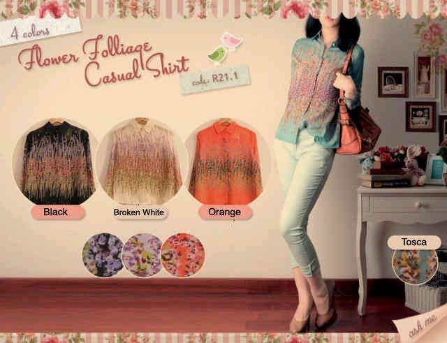 15KK913 Folliage - @79rb - STOK: ORANGE - Atasan bahan sifon - fit S-M