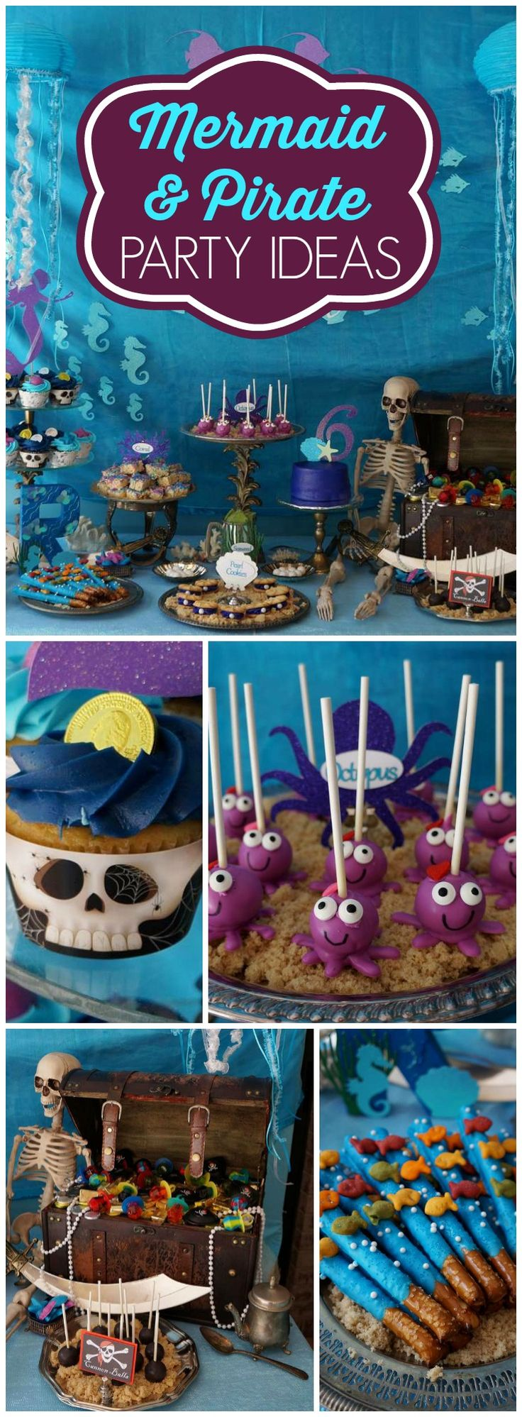 This incredible party features both mermaids and pirates! See more party ideas at CatchMyParty.com!
