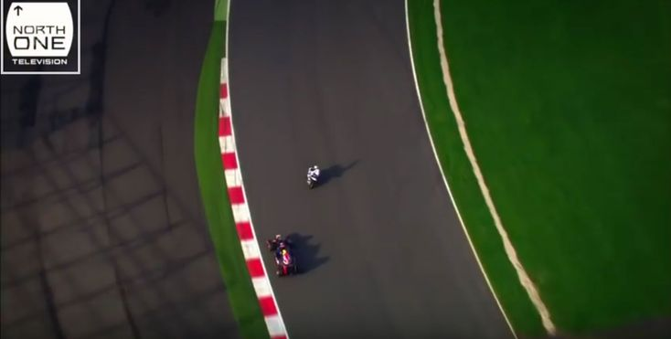 David Coulthard in Red Bull RB8 Formula 1 car takes on Guy Martin on BMW S 1000 RR Superbike - http://www.bmwblog.com/2016/03/30/david-coulthard-red-bull-rb8-formula-1-car-takes-guy-martin-bmw-s-1000-rr-superbike/