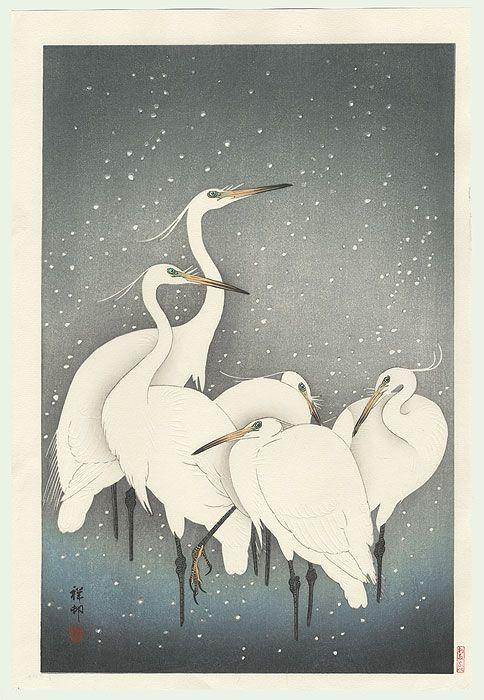 bonjourtableau:Egrets on a Snowy Night (Groupe de hérons dans la neige), 1928, Ohara Koson