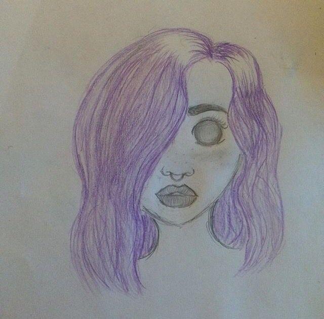 Beautiful purple haired girl