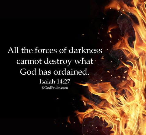 All the forces of darkness cannot destroy what God has ordained.  Isaiah 14:27