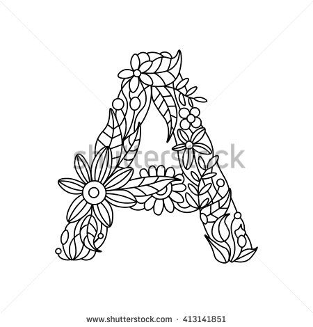 Floral Alphabet Letter Coloring Book For Adults Vector