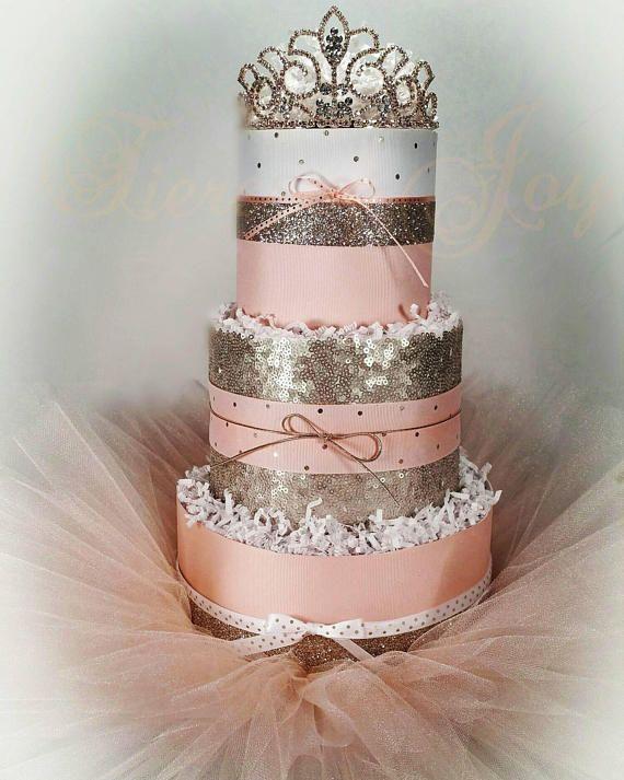 3 Tier Georgia Peach Champagne DIAPER CAKE w/ gold tiara