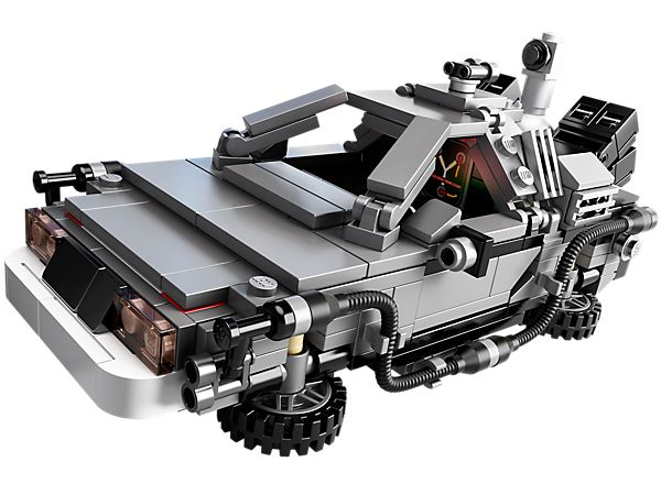 Back To The Future Delorian - Great Scott!  It's everyone's favorite time traveling car, complete with Doc and Marty minifigs and a flux capacitor.  No Mr. Fusion, however.
