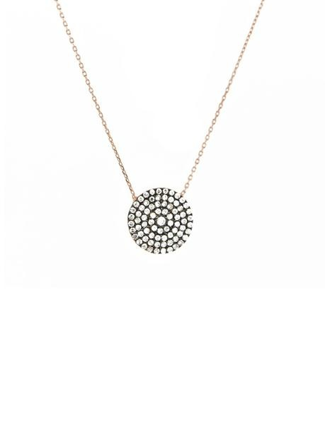 Blee Inara - 22k Gold Plated Oxidized CZ Circle Necklace | VAULT