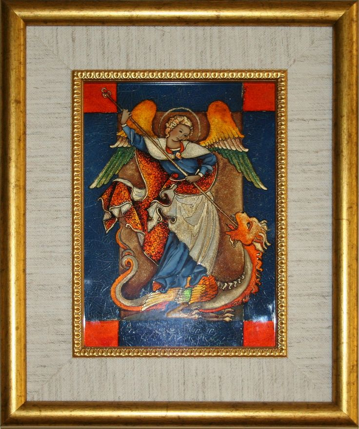 Św. Jerzy Walczący Ze Smokiem techn.malowane na szkle Danuta Rożnowska-Borys