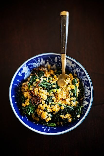 // red lentils & kale with coconut, ginger & crispy shallots
