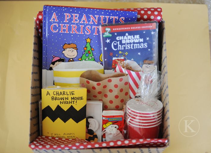 Charlie Brown movie night gift box for the kiddos...I can't even say how much I love this idea! :)