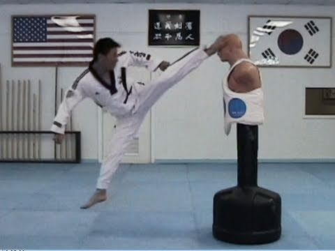 Jumping spinning hook kick… this is powerful. If you get it, knock-out is quite sure ;-)