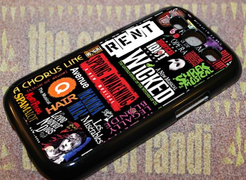 Broadway Musical Collage For Samsung Galaxy S3 Black Rubber Case