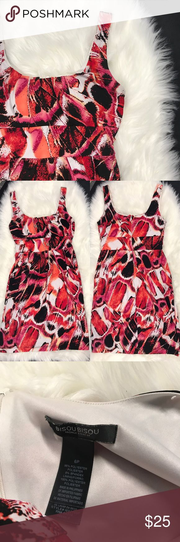 """Bisou bisou Petite dress 6P pink black red white Bisou bisou  Women's size 6 Petite  Sleeveless dress Front pockets  Zips in back  Padding in front  Polyester Blend  Good condition- hanger straps removed  Measurements laying flat:  Armpit to armpit: 15"""" Waist: 13"""" (up to 26"""" waist(  Length from shoulder to hem: 33.5"""" Bisou Bisou Dresses"""