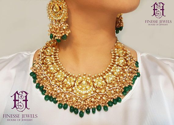 Sabyasachi Indian Necklace Set Kundan Earrings Bridal Indian Jewelry. Royal Pakistani Bride