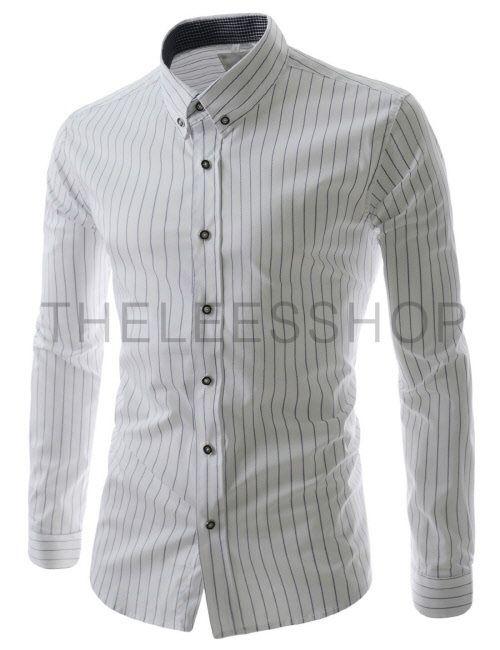 Hal75 White Mens Slim Fit Button Down Stripe Pattern