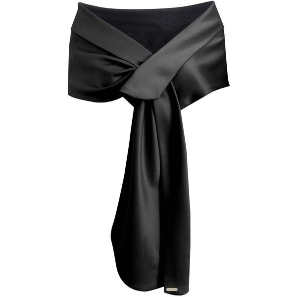 Black Satin Evening Shawl Wrap ($30) ❤ liked on Polyvore featuring accessories, scarves, wrap, black, shawls, lightweight, evening shawl, evening wrap shawl, wrap scarves and long shawl