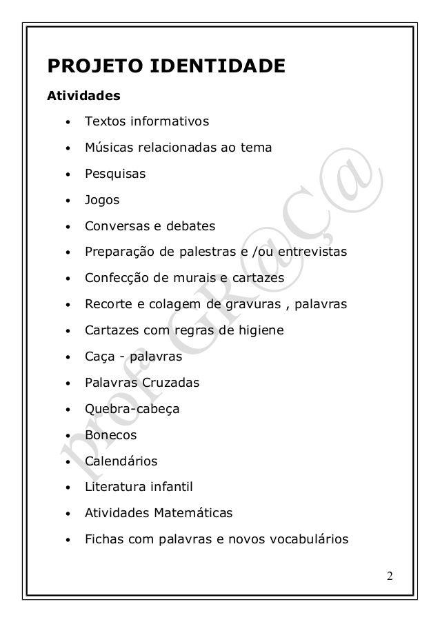 Projeto Identidade Com Imagens Educacao Infantil Projeto