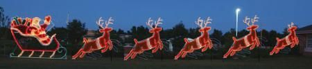 Giant Santa Sleigh and Reindeer Animated LED Light Display 87 ft W $16,899.00 Display Size 12 ft H x 87 ft W  Includes Santa Sleigh, 4 Reindeer and 1 Lead Reindeer. Prelit with 2158 commercial-grade C7 LED lights. Light motion
