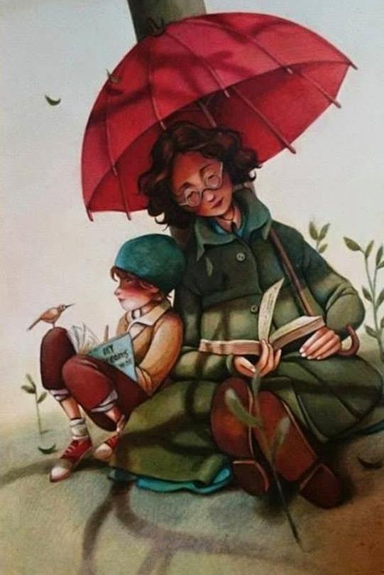 bibliolectors:  Siempre encontramos un buen momento para leer (ilustración de Fatemeh Haghnejad)   Leer en días de lluvia es una buena solución. Lee Carrera por agua