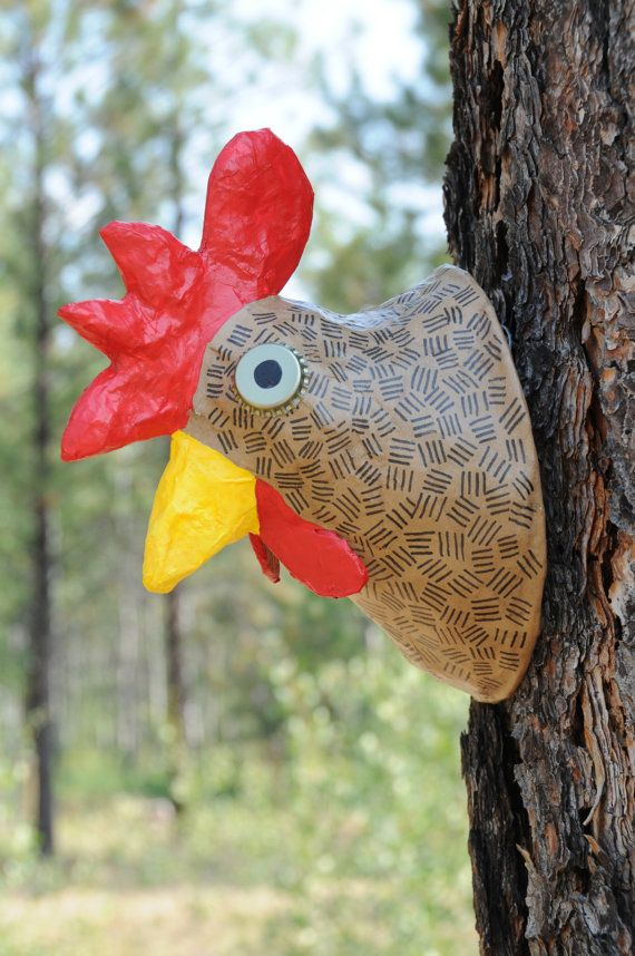 Paper Mache Animal Head--Faux Taxidermy--Rooster Sculpture
