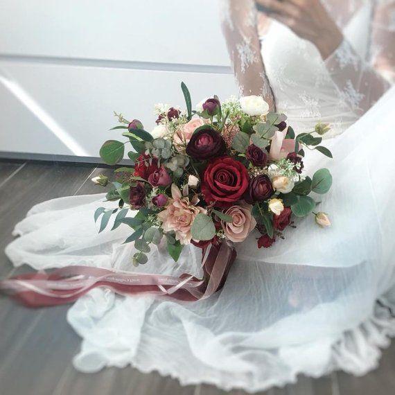 Artificial bouquet silk bouquet Wedding Bouquet Burgundy red Etsy